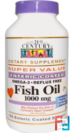 Fish Oil, 21st Century, 1000 mg, 180 Enteric Coated Softgels
