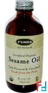 Certified Organic Sesame Oil, Flora, 8.5 fl oz (250 ml)