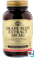 Grape Seed Extract, Solgar, 100 mg, 60 Vegetable Capsules