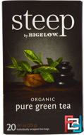 Steep, Organic Pure Green Tea, 20 Tea Bags, Bigelow, 0.91 oz, 25 g