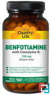 Benfotiamine, with Coenzyme B1, Country Life, 150 mg, 60 Veggie Caps