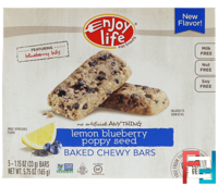 Baked Chewy Bars, Lemon Blueberry Poppy Seed, Enjoy Life Foods, 5 Bars, 1.15 oz (33 g) Each