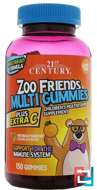 Zoo Friends Multi Gummies, Plus Extra C, 21st Century, 150 Gummies