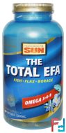 The Total EFA, Omega 3-6-9, Health From The Sun, 180 Softgels
