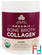 Organic Bone Broth Collagen, Pure, Dr. Axe / Ancient Nutrition, 15.9 oz (450 g)