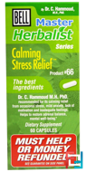 Master Herbalist Series, Calming Stress Relief, Bell Lifestyle, 60 Capsules