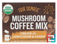 Mushroom Coffee Mix, Think With Lion's Mane & Chaga, Four Sigmatic, 10 Packets, 0.09 oz (2.5 g) Each