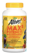 Alive! Max Potency, Multi-Vitamin, No Added Iron, Nature's Way, 180 Tablets