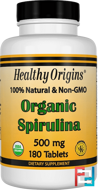 Organic Spirulina, Healthy Origins, 500 mg, 180 Tablets