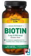 Biotin, High Potency, Country Life, 5 mg, 60 Vegan Caps