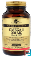 Omega-3, EPA & DHA, Solgar, 700 mg, 60 Softgels