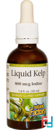 Liquid Kelp, 800 mcg Iodine, Natural Factors, 1.6 fl oz (50 ml)