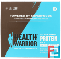 Superfood Protein Bar, Chocolate Variety Pack, Health Warrior, Inc., 12 Bars, 1.76 oz (50 g) Each