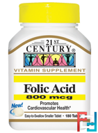 Folic Acid, 21st Century, 800 mcg, 180 Tablets