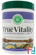 True Vitality, Plant Protein Shake with DHA, Chocolate, Green Foods Corporation, 25.2 oz (714 g)