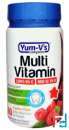 Multi Vitamin, for Adults,Raspberry Flavor, Yum-V's, 60 Jelly Vitamins
