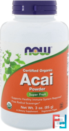 Certified Organic Acai Powder, Now Foods, 3 oz, 85 g
