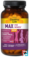 Max, for Women, Multivitamin & Mineral Complex, Iron Free, Country Life, 120 Veggie Caps