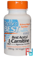 Best Acetyl-L-Carnitine HCl, Doctor's Best, 588 mg, 60 Veggie capsules