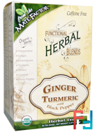 Organic Functional Herbal Blends, Ginger Turmeric with Black Pepper, Mate Factor, 20 Tea Bags, (3.5 g) Each