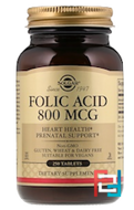 Folic Acid, Solgar, 800 mcg, 250 Tablets