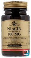 Niacin (Vitamin B3), Solgar, 100 mg, 100 Tablets