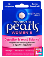 Probiotic Pearls Women's, Digestive & Yeast Balance, Enzymatic Therapy, 30 Softgels