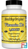 Vitamin D3, 1,000 IU, Healthy Origins, 180 Softgels