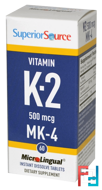 Vitamin K-2, 500 mcg, Superior Source, 60 MicroLingual Instant Dissolve Tablets
