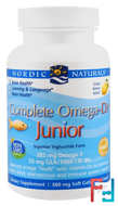 Complete Omega-D3 Junior, Lemon, 500 mg, Nordic Naturals, 90 Soft Gels