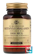Sublingual Methylcobalamin (Vitamin B12), Solgar, 1000 mcg, 60 Nuggets
