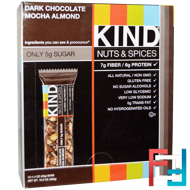 Nuts & Spices, Dark Chocolate Mocha Almond, KIND Bars, 12 Bars, 1.4 oz (40 g) Each