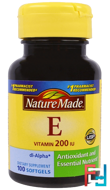 Vitamin E, Nature Made, 200 IU, 100 Softgels