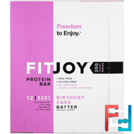 Protein Bar, Birthday Cake Batter, FITJOY, 12 Bars, 2.11 oz (60 g) Each