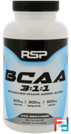 BCAA 3:1:1, RSP Nutrition, LLC, 200 Capsules