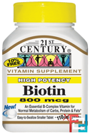 Biotin, High Potency, 21st Century, 800 mcg, 110 Tablets