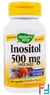 Inositol, Once Daily, 500 mg, Nature's Way, 100 Capsules