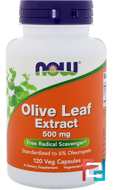 Olive Leaf Extract, Now Foods, 500 mg, 120 Veg Capsules