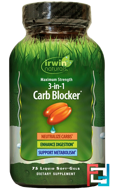 3-In-1 Carb Blocker, Maximum Strength, Irwin Naturals, 75 Liquid Soft-Gels
