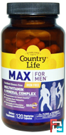 Max for Men, Multivitamin & Mineral, Iron-Free, Country Life, 120 Veggie Caps