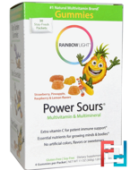 Gummy Power Sours, Multivitamin & Multimineral, Strawberry, Pineapple, Raspberry & Lemon Flavors, Rainbow Light, 30 Packets, 4 Gummies