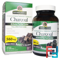 Charcoal, Activated Purified Carbon, 560 mg,Nature's Answer,  90 Vegetarian Capsules