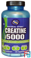 Creatine 5000, Natural Sport, 180 Veggie capsules