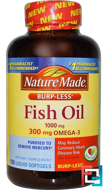 Fish Oil, Omega-3, Nature Made, 1000 mg, 150 Liquid Softgels