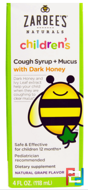 Naturals, Children's Cough Syrup + Mucus, with Dark Honey, Natural Grape Flavor, Zarbee's, 4 fl oz, 118 ml