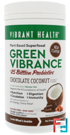 Green Vibrance +25 Billion Probiotics, Version 16.0, Chocolate Coconut, Vibrant Health, 13.23 oz (375 g)