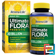 Adult 50+ Ultimate Flora Probiotic , 30 Billion Live Cultures, Renew Life, 30 Vegetable Capsules