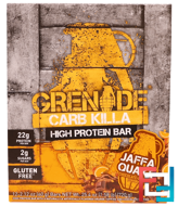 Carb Killa, High Protein Bar, Jaffa Quake Chocolate Orange, Grenade, 12 Bars, 2.12 oz (60 g) Each