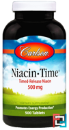 Niacin-Time, Carlson Labs, 500 mg, 500 Tablets