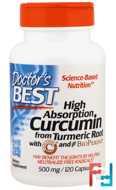 Curcumin, High Absorption, Doctor's Best, 500 mg, 120 Capsules